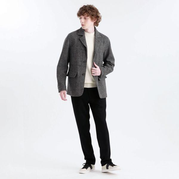 HEAT TWEED コンバーチブルカラー ジャケット