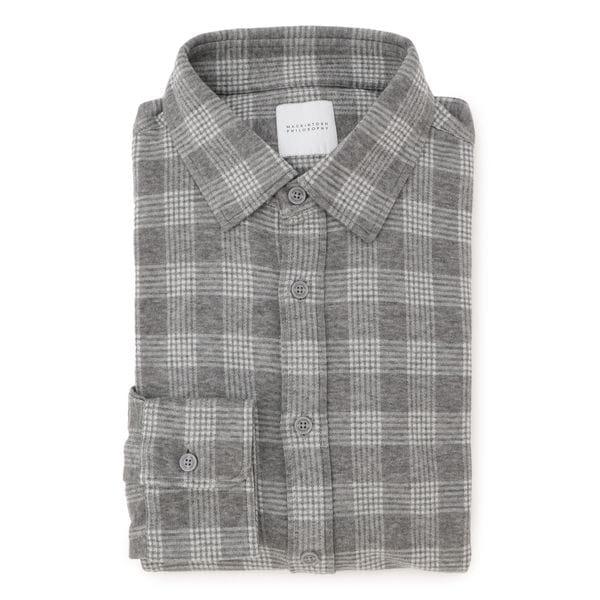 ニットネルチェック セミワイドカラーシャツ