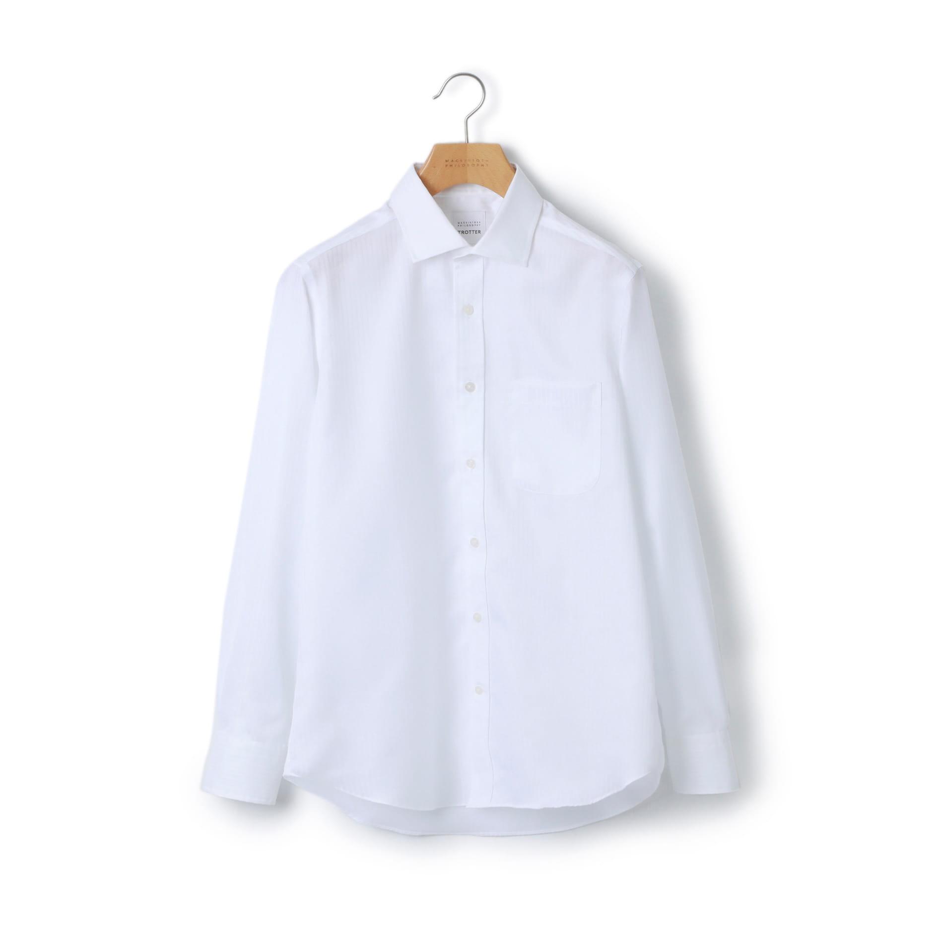 トロッター シャツ ドビーストライプ ワイドカラーシャツ