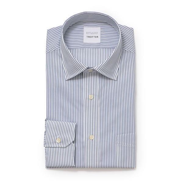 【TROTTER】 ポプリンストライプ セミワイド トロッターシャツ