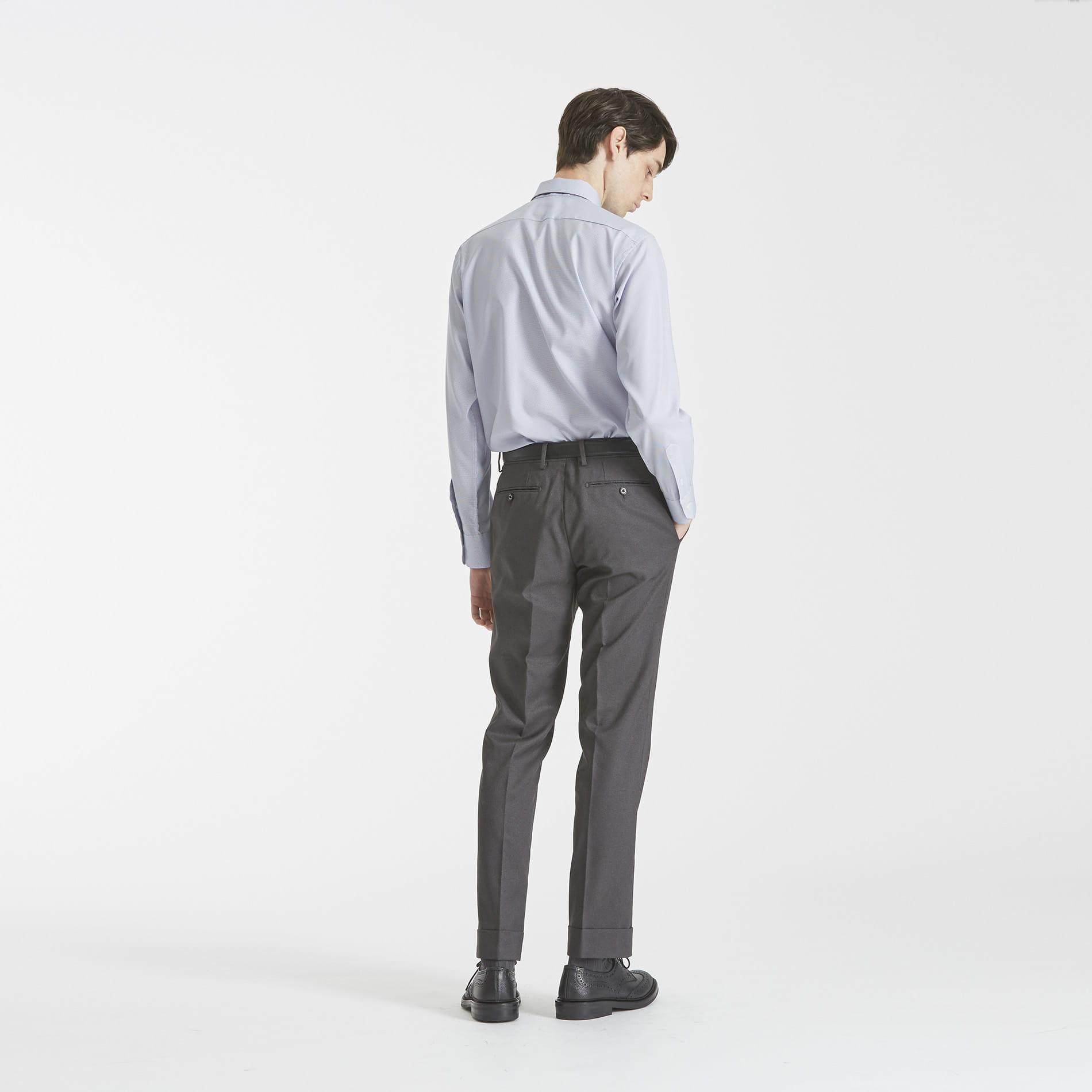 【TROTTER】 ミニグラフチェック セミワイドカラー トロッターシャツ