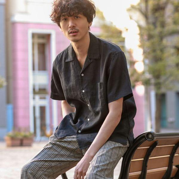 【WEB限定】リネンオープンカラーシャツ