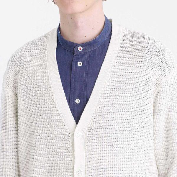 綿麻×ポリエステル カノコ ポケット付きカーディガン