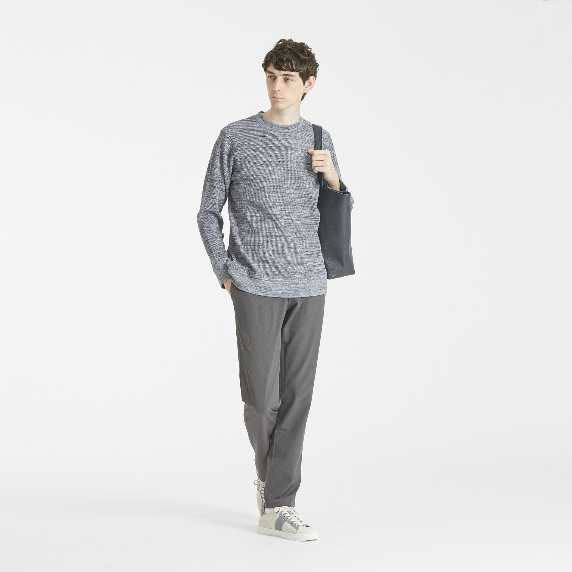 撚り杢ワッフル クルーネックロンTシャツ