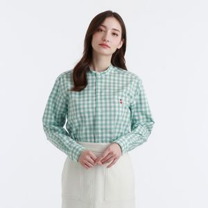 【BUCKINGHAM BEAR】ギンガムチェックバンドカラーシャツ