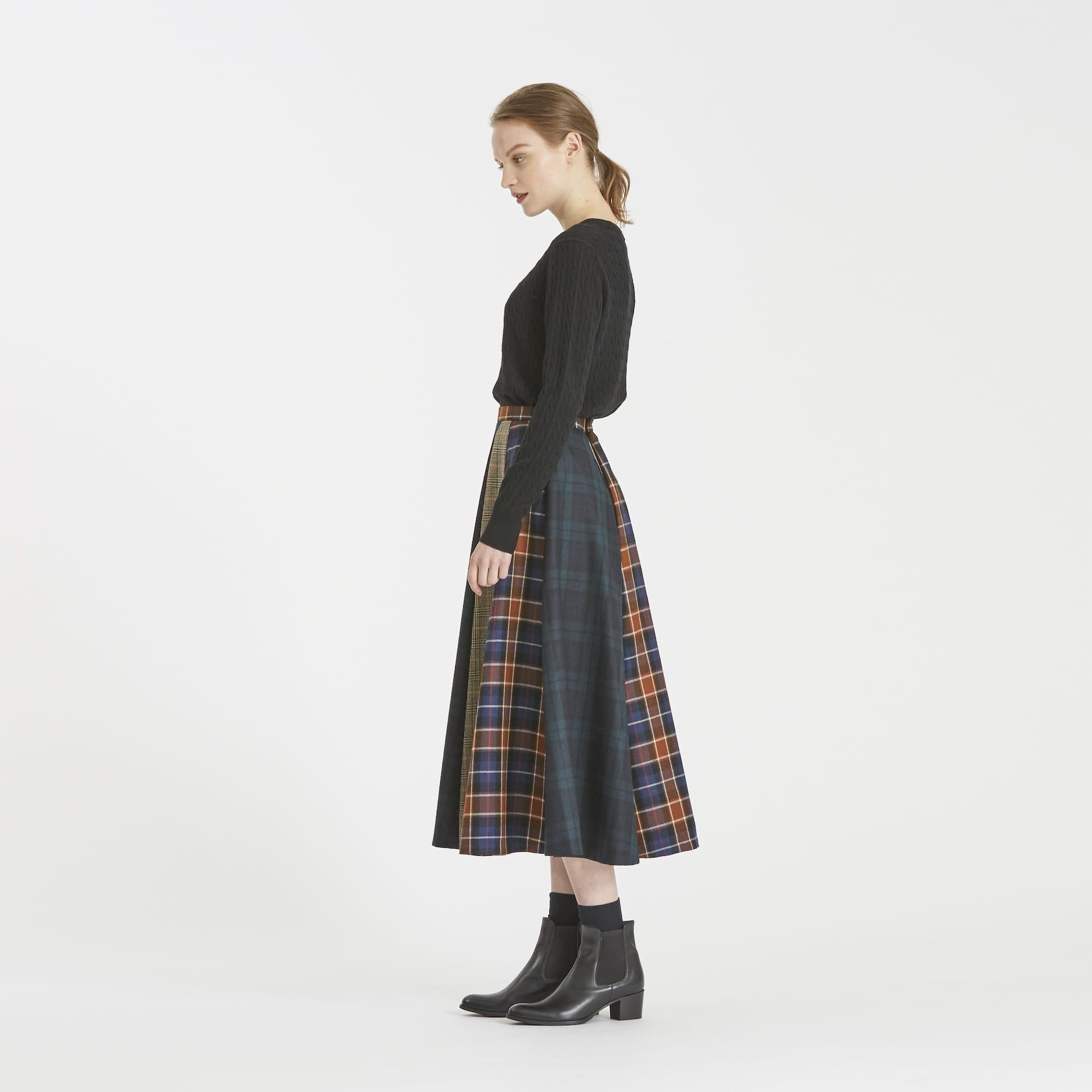 コンビチェックフレアスカート