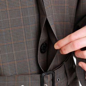 British Glen check ベルテッドコート