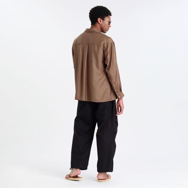 ジオメトリックオープンカラーシャツ